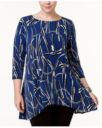 Alfani - Blue Plus Size Printed Trapeze Tunic - Lyst