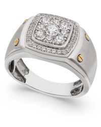 Macy's - Metallic Men's Diamond Cluster Ring (1 Ct. T.w.) In 10k White And Yellow Gold for Men - Lyst
