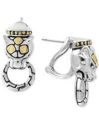 Effy Collection - Metallic Two-tone Panther Door Knocker Earrings In Sterling Silver And 18k Gold - Lyst