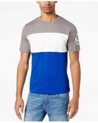 Sean John - Gray Men's Pieced Colorblocked Logo-print T-shirt for Men - Lyst