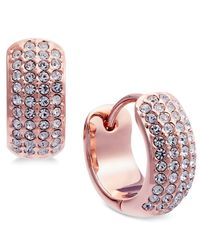 Danori - Pink Rose Gold-tone Pavé Huggie Hoop Earrings - Lyst