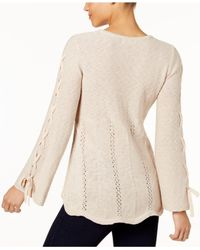 Style & Co. - Natural Laced-sleeve Sweater - Lyst