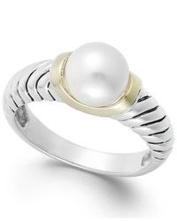 Macy's - White Cultured Freshwater Pearl Rope Ring In 14k Gold And Sterling Silver (8mm) - Lyst