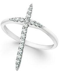 Macy's - Diamond Extended Cross Ring In 10k White Gold (1/4 Ct. T.w) - Lyst