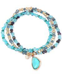 Kenneth Cole - Gold-tone 3-pc. Set Blue Stone Beaded Stretch Bracelets - Lyst