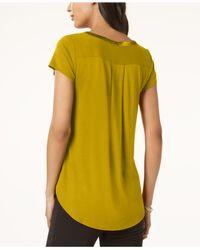 Alfani - Yellow Petite Satin-trim High-low T-shirt, Created For Macy's - Lyst