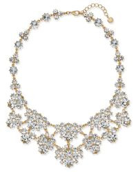 Charter Club - Metallic Gold-tone Crystal Cluster Statement Necklace - Lyst
