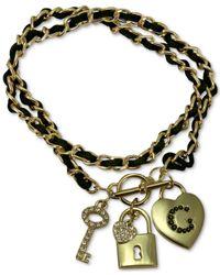 Guess - Metallic Gold-tone Pavé Charm Woven Faux Suede Bracelet - Lyst