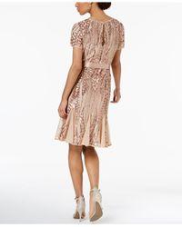 R & M Richards - Pink Sash-belt Sequined Mesh Dress - Lyst