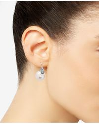 Nina - Metallic Silver-tone Pavé And Imitation Pearl Front-back Earrings - Lyst