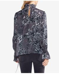 Vince Camuto - Multicolor Shirred Floral Self-tie Blouse - Lyst
