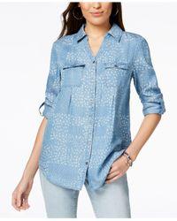 Style & Co. - Blue Daisy-print Denim Shirt, Created For Macy's - Lyst