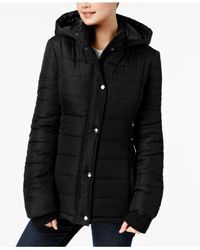 Rampage Black Juniors' Hooded Puffer Coat