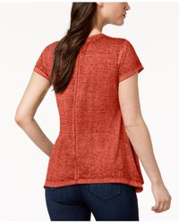 Style & Co. - Red Burnout Handkerchief-hem T-shirt, Created For Macy's - Lyst