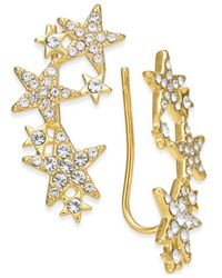 Kate Spade | Metallic 14k Gold-plated Pavé Star Ear Climbers | Lyst