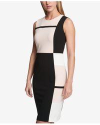 Tommy Hilfiger - Black Colorblocked Striped Sheath Dress - Lyst