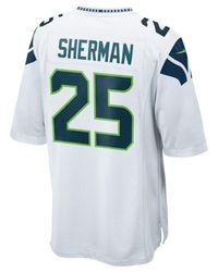 Nike White Richard Sherman Seattle Seahawks Game Jersey for men
