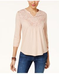 Style & Co. - Multicolor Embroidered Illusion Henley - Lyst