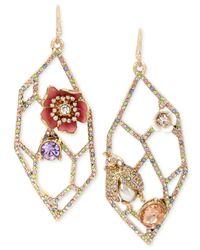 Betsey Johnson - Metallic Gold-tone Multi-stone Geometric Cut-out Drop Earrings - Lyst
