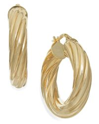 Macy's | Metallic Twist Hoop Earrings In 14k Gold | Lyst
