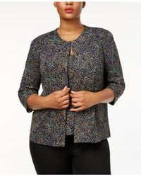 Alex Evenings - Multicolor Plus Size Printed Glitter Jacket & Shell Set - Lyst