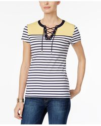 Charter Club | Blue Petite Striped Lace-up Top | Lyst