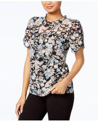 Kensie | Black Ruffled Floral-print Top | Lyst