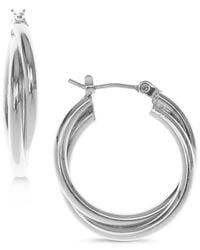"Nine West - Metallic Silver-tone 1/3"" Twisted Hoop Earrings - Lyst"