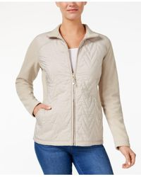 Style & Co. | Natural Quilted Fleece-contrast Jacket | Lyst