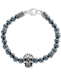 Effy Collection - Metallic Hematite (6mm) Beaded Skull Bracelet In Sterling Silver - Lyst