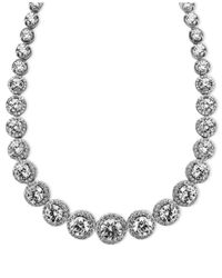 Arabella | Metallic Sterling Silver Necklace, Swarovski Zirconia Necklace (55-1/3 Ct. T.w.) | Lyst