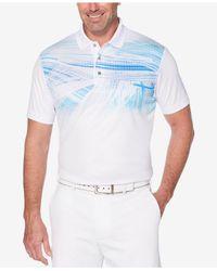 PGA TOUR - White Pro Series Motion Double-knit Pixelated Palm-print Performance Polo for Men - Lyst