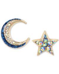 Betsey Johnson - Blue Celestial Moon And Star Mismatch Earring Set - Lyst