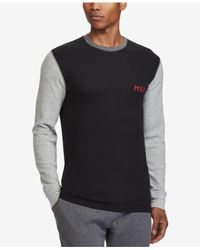 Polo Ralph Lauren - Black Men's Cotton Waffle-knit Colorblocked Pajama Shirt for Men - Lyst