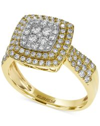 Effy Collection - Metallic Diamond Square Ring In 14k White, Yellow Or Rose Gold (3/4 Ct. T.w.) - Lyst
