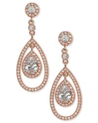 Anne Klein - Metallic Rose Gold-tone Crystal And Pavé Orbital Drop Earrings - Lyst