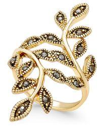 INC International Concepts - Metallic Gold-tone Black Crystal Bypass Vine Ring - Lyst