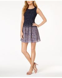 Maison Jules - Blue Printed Sleeveless Fit & Flare Dress, Created For Macy's - Lyst