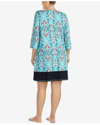 Ellen Tracy - Blue Plus Size Keyhole Cotton-blend Sleepshirt - Lyst