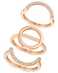 Swarovski | Metallic Rose Gold-tone 3-pc. Set Interlocking Crystal Pavé Rings | Lyst