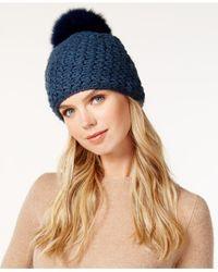 Surell   Blue Acrylic Star Stitched Knit Fox Fur Pom Hat   Lyst