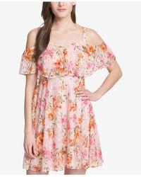 Kensie - Pink Floral Lace Cold-shoulder Dress - Lyst