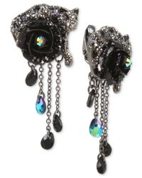 Betsey Johnson - Hematite-tone Black & Gray Pavé Flower & Jaguar Clip-on Drop Earrings - Lyst
