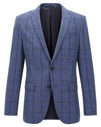 116f8658 Lyst - BOSS Men's Slim-fit Windowpane Virgin Wool Sport Coat in Blue ...