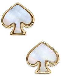 Kate Spade | Metallic Signature Spade Gold-tone Imitation Mother-of-pearl Earrings | Lyst