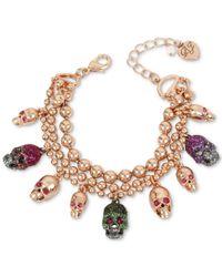 Betsey Johnson - Metallic Two-tone Multi-stone & Glitter Skull Charm Bracelet - Lyst