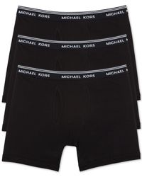 Michael Kors - Black Men's Essentials Cotton Boxer Briefs, 3-pack for Men - Lyst