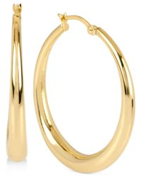 Touch Of Silver Metallic Round Polished Hoop Earrings In 14k Gold-plated Brass