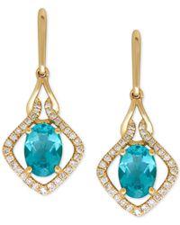 Macy's - Blue Apatite (1-3/4 Ct. T.w.) And Diamond (1/5 Ct. T.w.) Drop Earrings In 14k Gold - Lyst