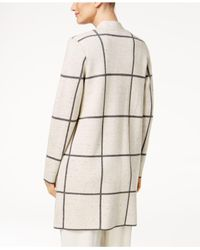 Eileen Fisher | Natural Windowpane-check Long Cardigan | Lyst